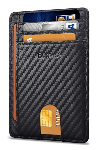 Buffway Slim Minimalist Front Pocket RFID Blocking Leather Wallets for Men Women - Carbon Fiber Black