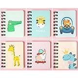 Notizbuch Klein, Comius Sharp 6 PCS Mini Notizbuch Kinder Klein Notizblöcke, Tragbar Klein Spirale Notebook mit Cute Cartoon Muster Mini Tagebuch Notizblock (B)