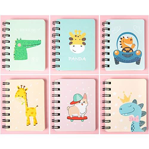 Portatile Mini Taccuino Notebook, Comius Sharp 6 Pezzi Taccuino a fogli mobili bloc-notes, con Cute Cartoon Pattern Piccolo Taccuino Tascabile,Giornale per taccuino per forniture per ufficio (B)
