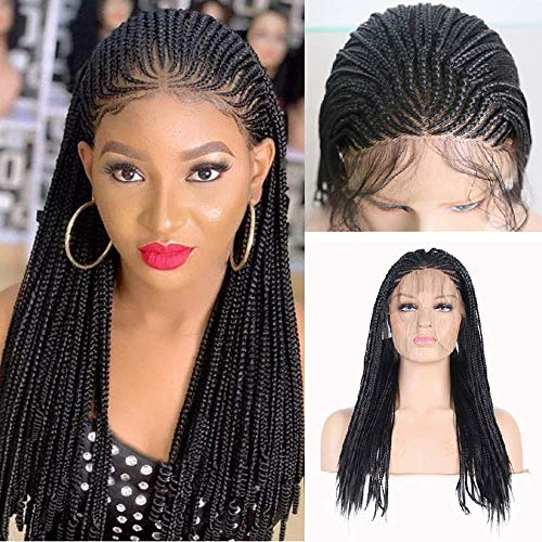 RDY 18 Inches Black Braided Lace Front Wigs for Black Women Natural Hairline Synthetic Wig Pre Plucked Glueless Braids Wig (180% Density,Style2)