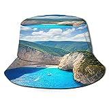 PUIO Sombrero de Pesca,Sun Blue Travel Amazing Navagio Beach Zante Grecia Famosa Agua en naufragio naufragio,Senderismo para Hombres y Mujeres al Aire...