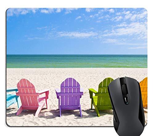 Knseva Adirondack Beach Chairs on a Sunny Beach Vacation Travel House Mouse Pad - Rainbow