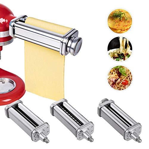 Cosy-TT Pasta-Roller & Cutter Aufsatz 3-in-1 Nudelaufsatz, für alle KitchenAid Dreiteiliger Nudelvorsatz Küchenmaschine, inklusive Nudelroller, Pasta Set Zubehör,Spaghettischneider, Fettuccine Cutter