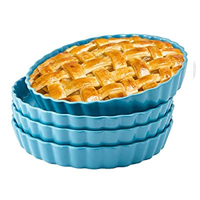 Oven To Table Bakeware Set Of 4 Matte Ceramic Pie Pans 10 inch Round Dinner Plates - Pie Pan Dish for Pie, Pizza, Pasta Restaurant Serving Dinner Plates, Teal
