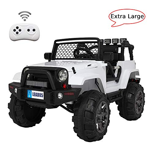 VALUE BOX Extra Larger Ride On Truck, 12V Battery Electric Kids Toddler Motorized Vehicles Toy Car w/ Remote Control, 3 Speeds, Spring Suspension, Seat Belts, LED Lights and Realistic Horns (White)