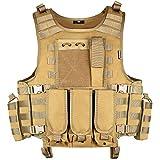 MGFLASHFORCE Tactical Airsoft Vest Adjustable Modular Paintball Vest (Tan)