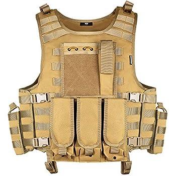 MGFLASHFORCE Tactical Airsoft Vest Adjustable Modular Paintball Vest  Tan