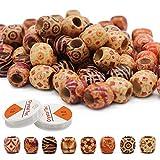 150 perline di legno stampate con 2 rotoli di filo elastico trasparente, per braccialetti fai da te e cavigliere, gioielli fai da te