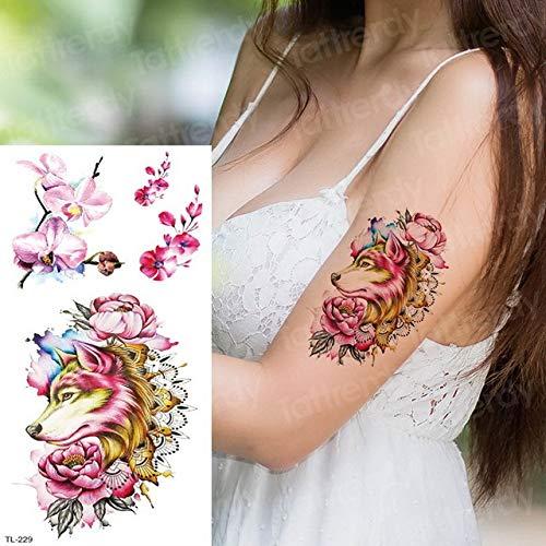 tzxdbh 2pcs Tatuaje Temporal Pegatinas Mujer Loto Tatuaje Arte ...