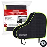 GADLANE Universal Waterproof Caravan Tow Hitch Cover With Strap Black/Green Nylon Fluorescent Strip Coupling Trailer Towing Ball Coupling Lock Protector Cover