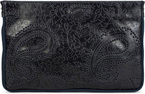 styleBREAKER clutch in pelle con con stampo Paisley e chiusura a cerniera, maniglietta, borsa da scuola, borsa da sera, borsa, donna 02012183, colore:Blu notte