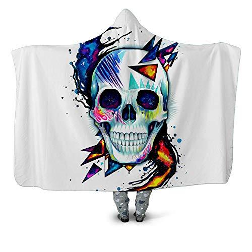 NSWSYDM 3D Digital Fleece Throw Printed Blanket Black And White Blue Skull Hooded Blanket 51x59 inch Cloak Adult Children's Wearable Throw Nap Blankets Warm Winter Camping Chair Bedroom Sofa