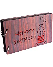 GiftsCafe Wooden Happy Birthday Stars Photo Album Scrapbook (26 x 16 x 4 cm, Brown)