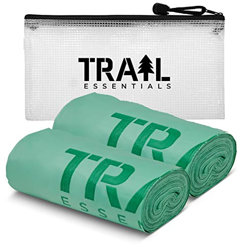 Trail Essentials Toilet Bags, Certified Biodegradable and Compostable, 50 Count; Use and Bury in Ground, Includes Convenient Water Resistant Carry Case