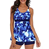 Century Star Women's Tankini Swimsuits Bathing Suits for Women Tummy Control Two Piece Swimming Suit Ladies Swimwear Tie-Dyed Blue 10-12