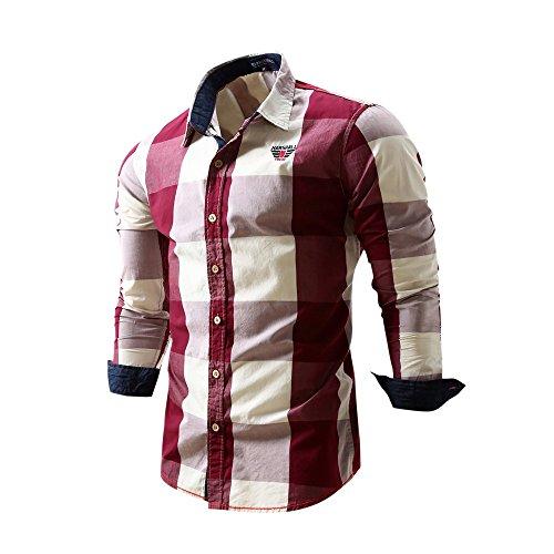 Reooly Camisa de Solapa con Estampado de Bloques de Color Camisa de Caballero británico