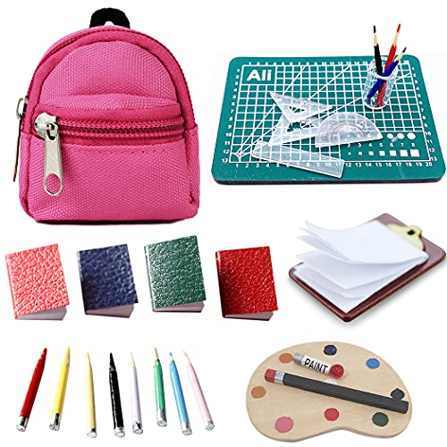 Doll School Supplies for Dolls Accessories Set - Aniwon 20PCS Cute Mini Doll Backpack Books Palette Paper Clipboard Pencil Doll Rulers American Girl Doll Accessories