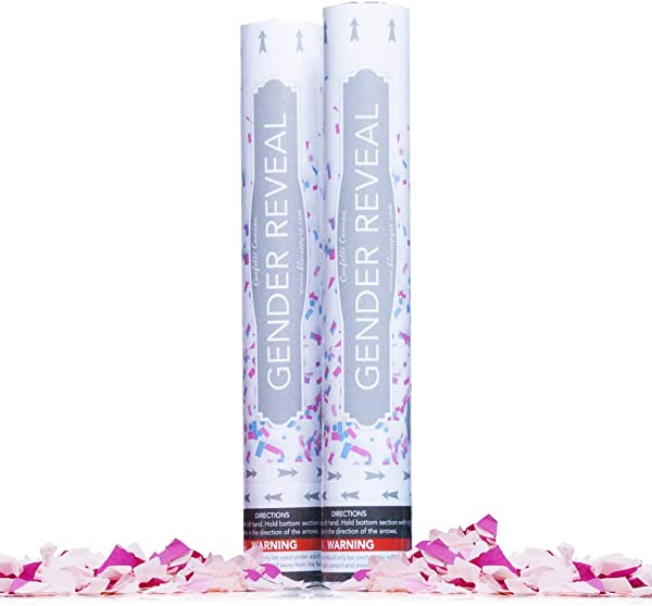 Gender Reveal Confetti Cannon Poppers 2 Pack Pink Gender Reveal Surprise Biodegradable Confetti