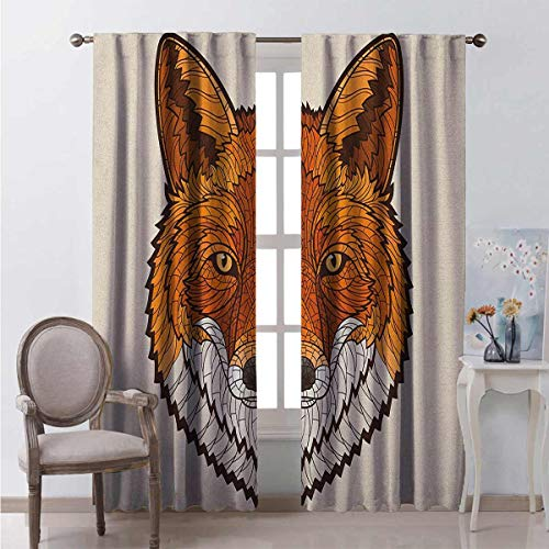 Toopeek Fox Wear-resistant color curtain Wild Fox Portrait in Mosaic Inspired Style Furry Animal Smart Eyes Mascot Icon Waterproof fabric W52 x L54 Inch Orange White Black