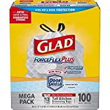 Glad Forceflexplus Tall Kitchen Drawstring Trash Bags - Unscented -13 Gallon - 100