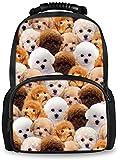 Mochilas Perro Husky Moda Rompecabezas patrón Adolescente niña de la Escuela Mochilas Mujeres Mochila Grande Mochilas Escolares (Color : Puzzle Poodle Dog Design-8)