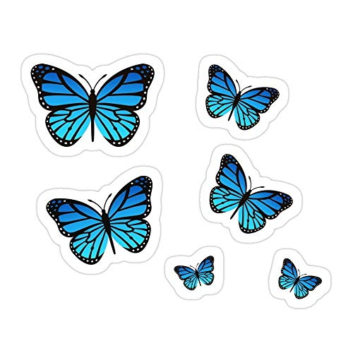 DKISEE (3 PCs/Pack Blue Butterfly Pack Die-Cut Stickers Decals for Laptop Window Car Bumper Helmet Water Bottle 4 inches