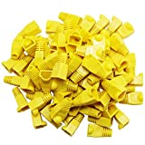 RuiLing 100PCS Yellow CAT5E CAT6 RJ45 Ethernet Network Cable Strain Relief Boots Cable Connector Plug Cover