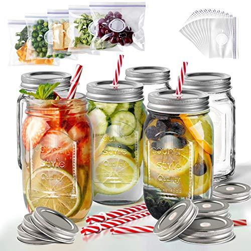 Masthome 6 Stück 500 ml Trinkgläser mit Deckel und Strohhalm Einmachglas mit Schraubverschluss Küche Mason-Glas ideal für Party Fest Dekoration