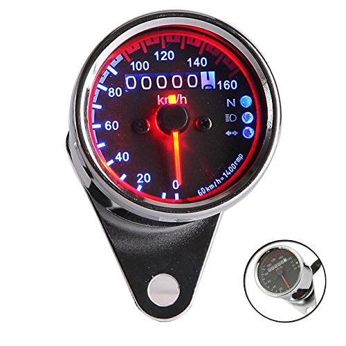 INNOGLOW Motorcycle Tachometers Speedometers Universal Backlit Dual Odometer Speed Gauge LED Backlight Neutral Headlight Turn Signal Indicator KMH