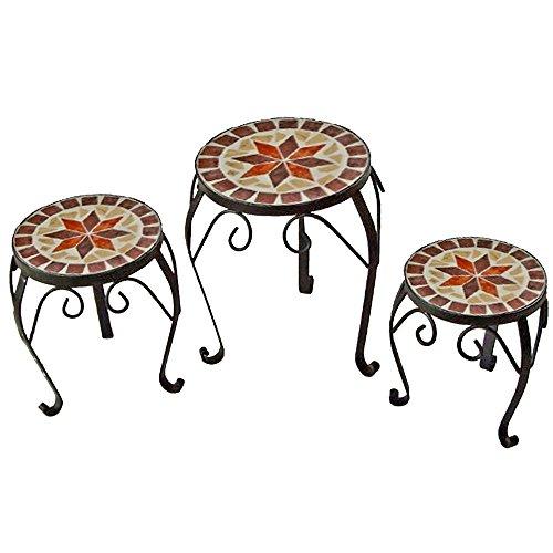 Unbekannt 3er Set Mosaik Blumen Hocker Tisch Ablage Metall Stahl schwarz lackiert Harms 504890