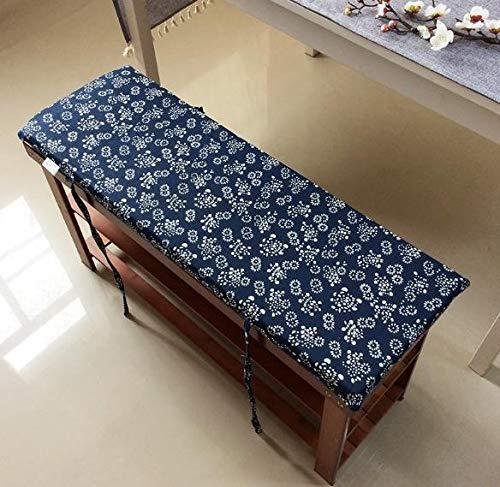 Lovemorebuy Cojín largo de banco con lazos de fijación, cojín de banco de jardín, cojín de banco de 2 o 3 plazas, colchón de repuesto lavable para interiores y exteriores (120 x 30 x 4 cm)