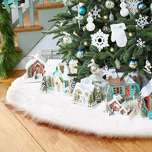 Surfmalleu Falda Blanca de Árbol de Navidad de Decoración Felpa de Papá Noel con Largo Pelo Suave Felpa Ornamentos de Árbol de Vacaciones Piel Sintética Cubierta de Base del Árbol (122cm)