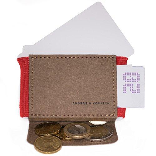 A&K Mini braun/rot – kleine Geldbörse mit Münzfach, Mini-Portemonnaie mit Kleingeldfach, Geldbörse, dünn, leicht, Portmonee, regionale Handarbeit, vegan ohne Leder, robust, wasserbeständig, Unisex