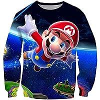 2T-16T Years Old Super Mario Bros Cartoon Hoodie Sweatshirt for Kids Boys Girls O-Neck Cosplay Tracksuit Children Pullover