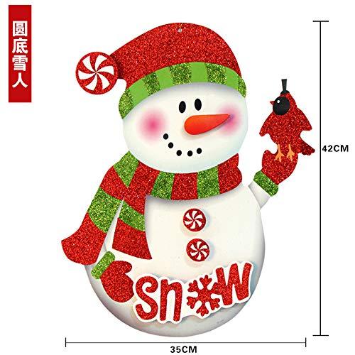 VHVCX Weihnachten Ornamentglas-Fensteraufkleber befestigt Aufkleber Weihnachtsweihnachtsmann-Dekorationen Tür Wandaufkleber, rund Schneemann