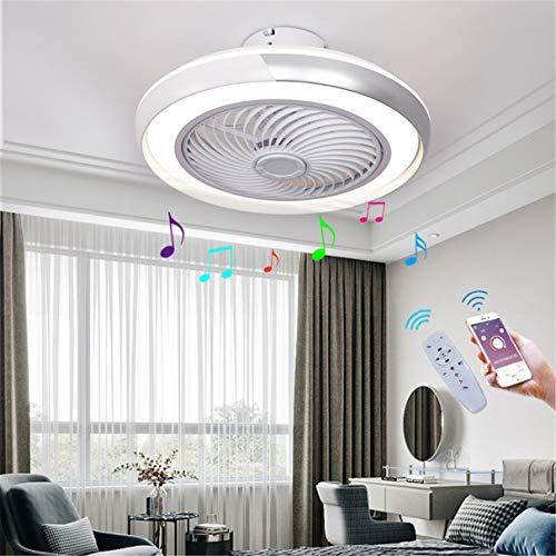 YAOXI Globus LED-Deckenleuchte, Ventilator mit Bluetooth, leise, Schlafzimmer, Deckenventilator mit Licht und Fernbedienung, dimmbar, 40 W, Lampe, Ventilator, Deckenleuchte, silberfarben