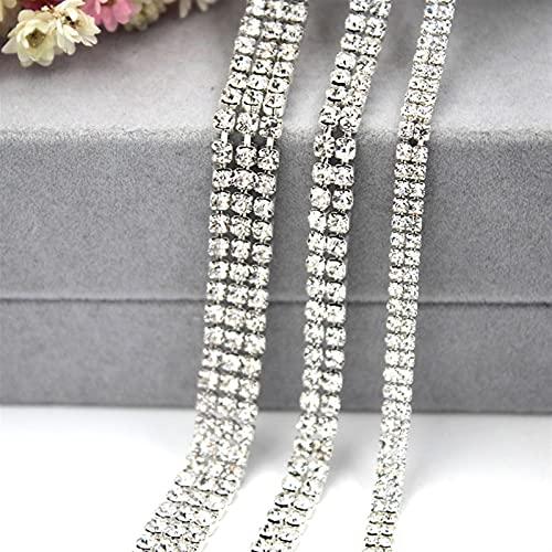 Cadena de copa de diamantes de imitación Cadena de Rhinestones blanca transparente de múltiples filas Cadena de cristal de cristal de cristal de cristal de cristal de cristal de cristal de cristal de