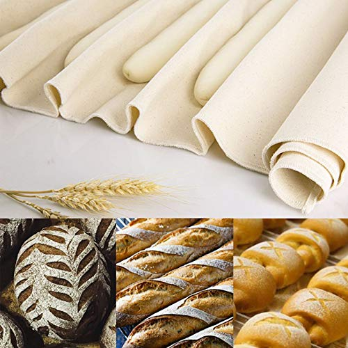 FANKUTOYS Professional Bakers Proofing Cloth 2 Pieces, 18 x 30 Inches Dough Couche Linen Cloth 100% Cotton Fabric for Bread Dough Baking, Shaping Tool for Baguettes, Loaves, Ciabatta