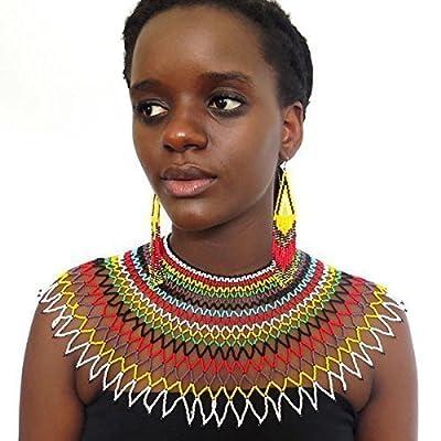Collier en perles traditionnel de mariage Sud Africain Zoulou - Multicolore avec noir