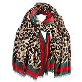 LumiSyne Cálido Bufanda Mujer Leopardo a Moda Bufanda a Cuadros Algodón Suave Fulares Estampada Asimétrica Única Gran Chales Estola Otoño Invierno