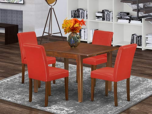 """5Pc Rectangle 42/53.5"""" Dinette Table With 12 In Leaf And Four Parson Chair With Mahogany Leg And Pu Leather Color Firebrick Red"""