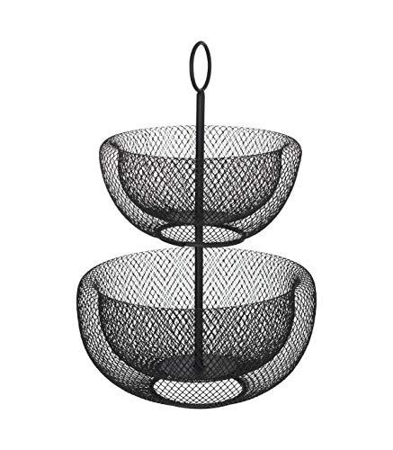 5FIVE Corbeille à Fruits 2 étages en métal Noir