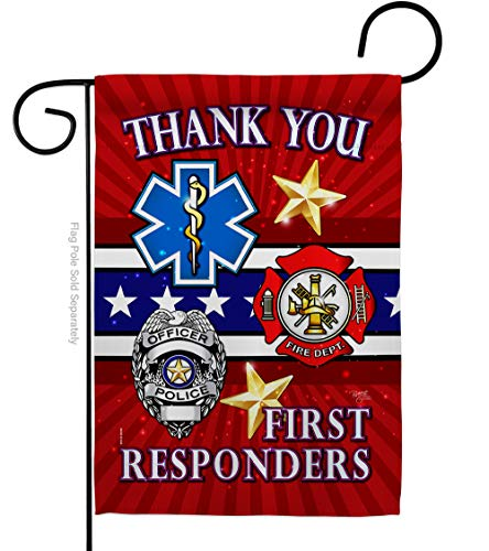 Service First Responders Garden Flag Armed Forces All Branches Support Honor United State American Military Veteran Official Small Decorative Gift Yard House Banner Double-Sided Made in USA 13 X 18.5