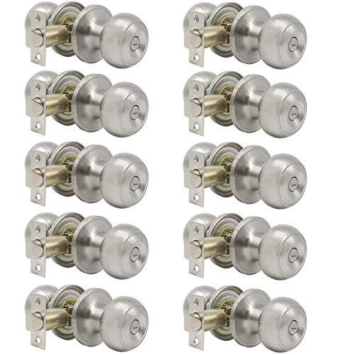 Probrico Satin Nickel Bed/Bath Door Knobs Privacy Door Knobs Interior Bathroom Locks Wholesale (10 Pack)