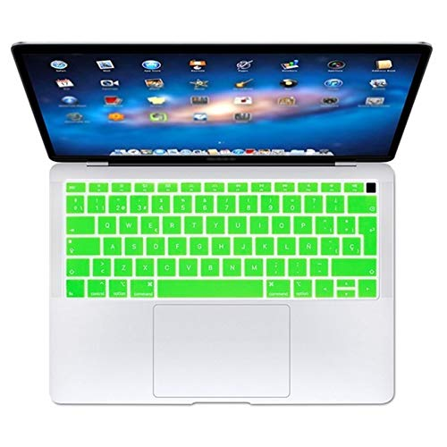 Flexible, waschbar, Spanish EU Teclado Keyboard Protector Cover Protective Skin For Apple MacBook Air 13 13.3 Inch A1932 2019 2018 Touch ID Staub anti-schmutzig (Color : Green)