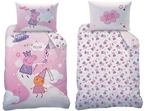 Peppa Pig Peppa Wutz Baby Bettwäsche Set Größe 100 x 135cm 40 x 60cm 100% Baumwolle Fairytale (100% Baumwolle Biber/Flanell)