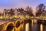 Amsterdam City Stadt Night XXL Wandbild Kunstdruck Foto