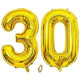 Jrzyhi Globos con números para 30 cumpleaños globos dorados gigantes número 30 helio número 30 número 30 Happy Birthday 30 años globos gigantes para cumpleaños bodas fiestas decoración de 32 pulgadas
