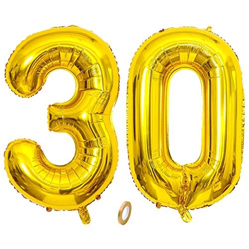 Jrzyhi Globos con números para 30 cumpleaños globos dorados gigantes número 30...