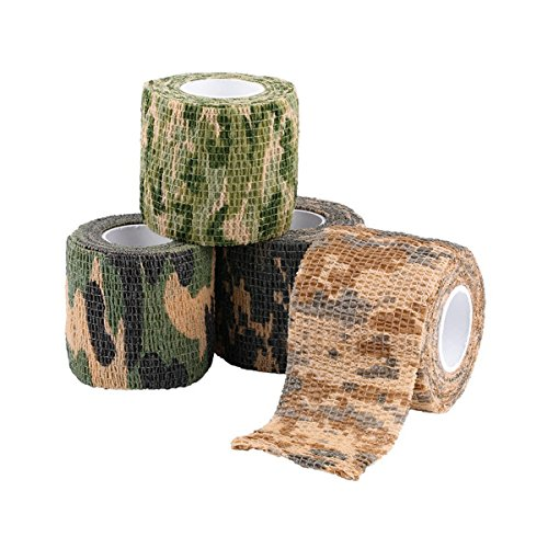 Outdoor Camouflage-Klebeband,Stealth Camo Tape/Kamera Stretch Tape/ Jagd Camo Gewehr keine Kleberückstände beim entfernen, robust und wiederverwendbar/Breite 5 cm (1.96in)/Länge 4,5 m (177.16in)
